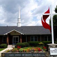 Faith UMC, Waynesville, NC entrance, sign--Waynesville, NC United Methodist Church
